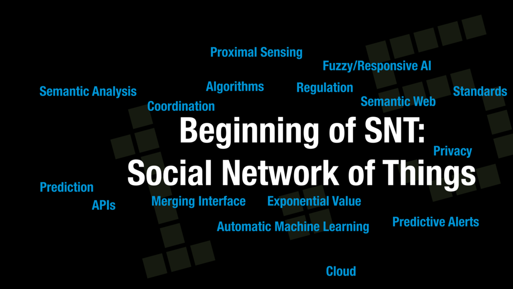 The beginning of the SNT introduces terms like prediction, automatic machine learning and more into the discussion alongside the existing concepts from the IoT.