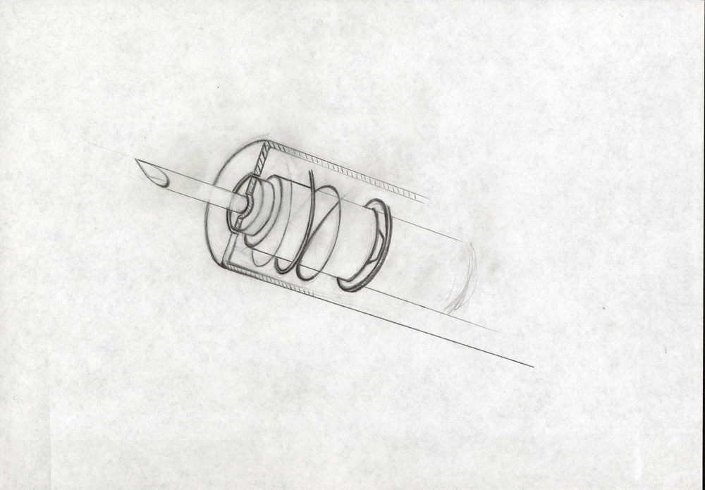 Concept syringe sketch for Becton Dickinson & Co. Pencil on paper.
