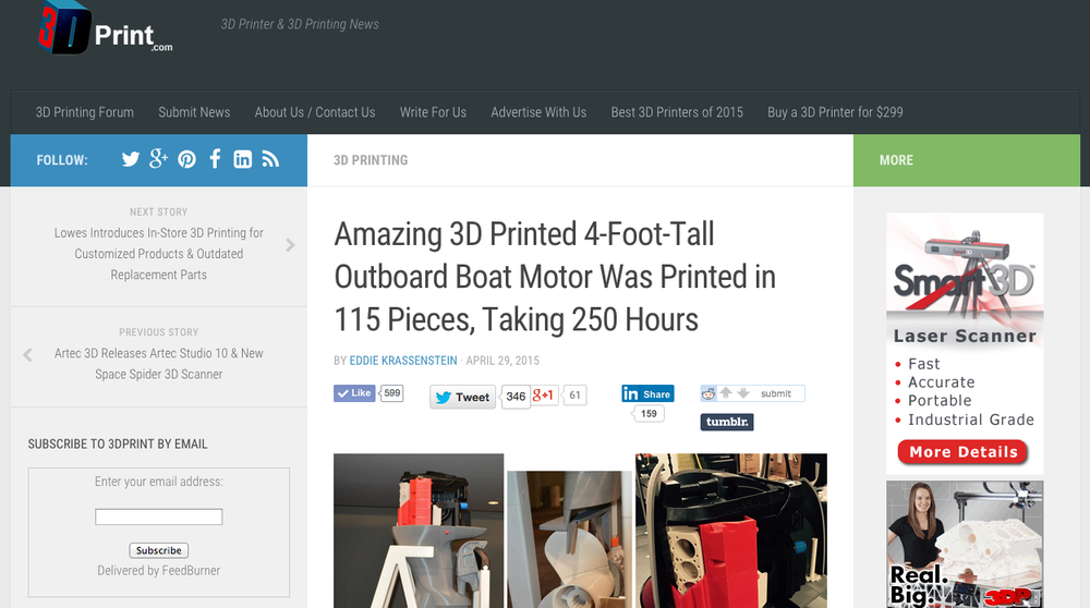 Coverage of the boat engine by 3D Print.com, a leading online publication that specializes in 3D printing technology.