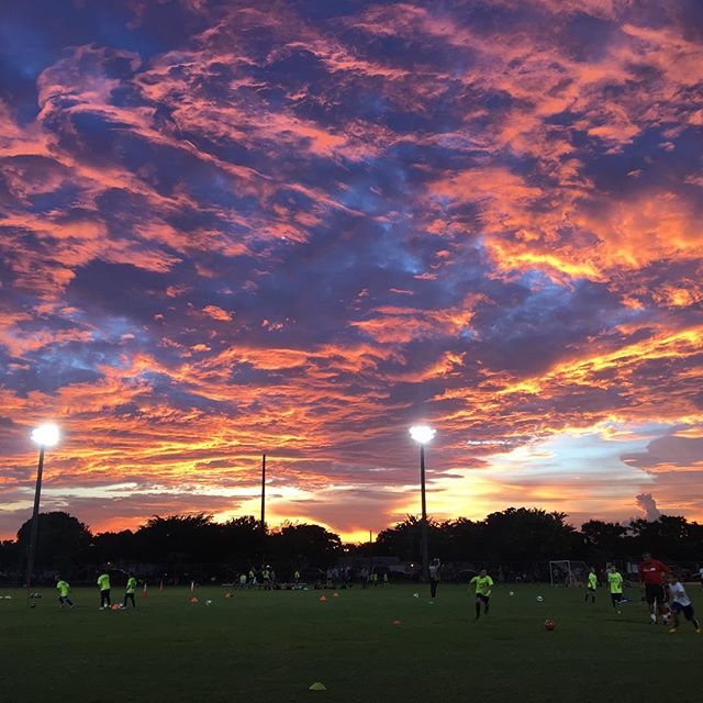 Beautiful sunset at soccer practice