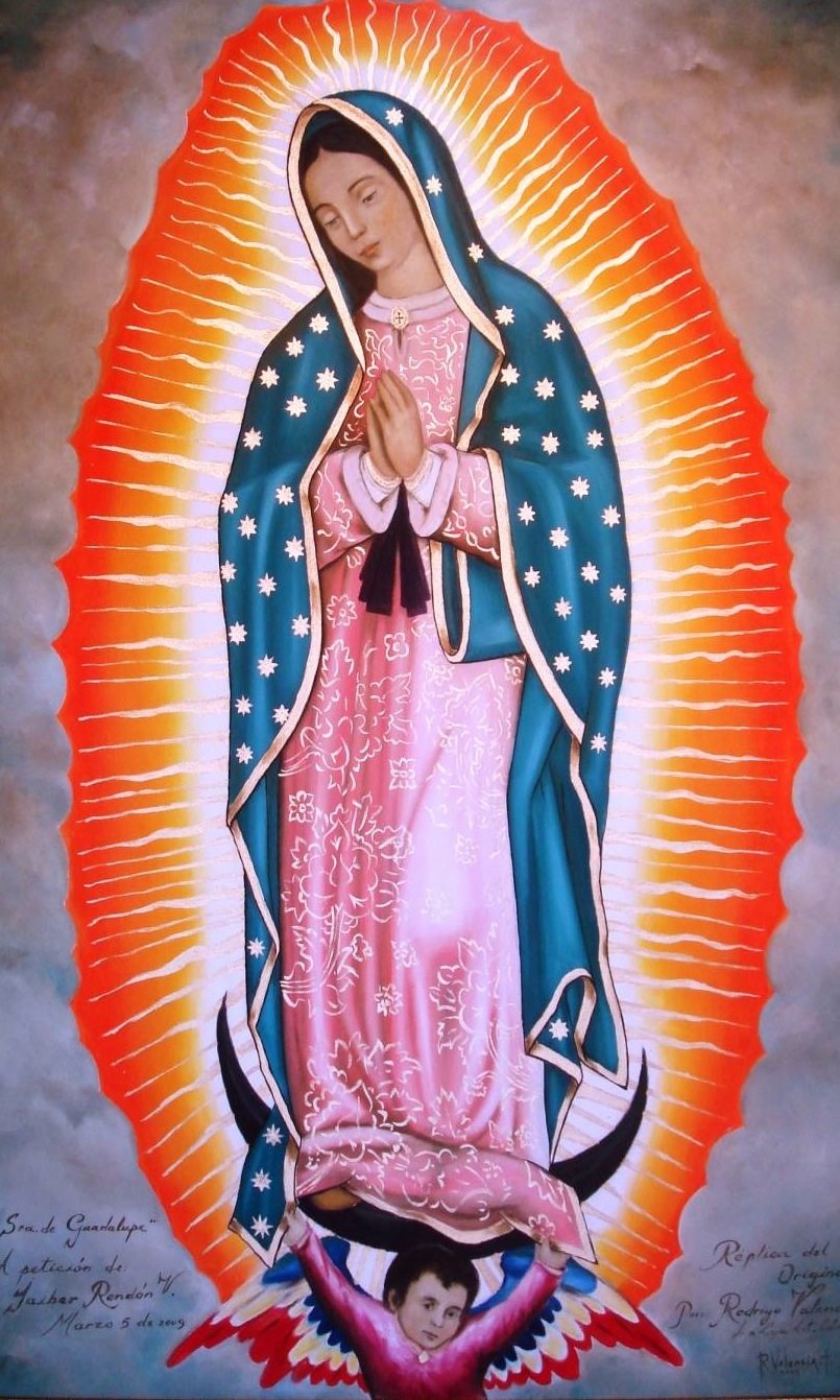 The Virgin of Guadalupe. Notice the brightness coming from within her.