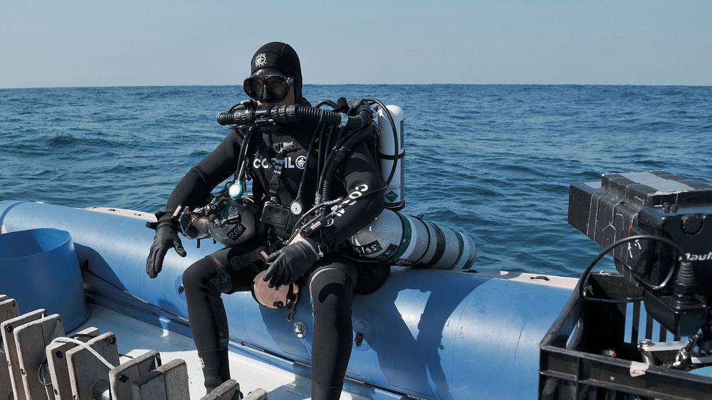 Preparing for a dive to one of Durban's Ghost Fleet, South Africa, 2013.