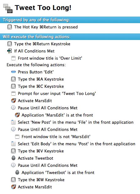 Keyboard Maestro macro to send tweets to MarsEdit