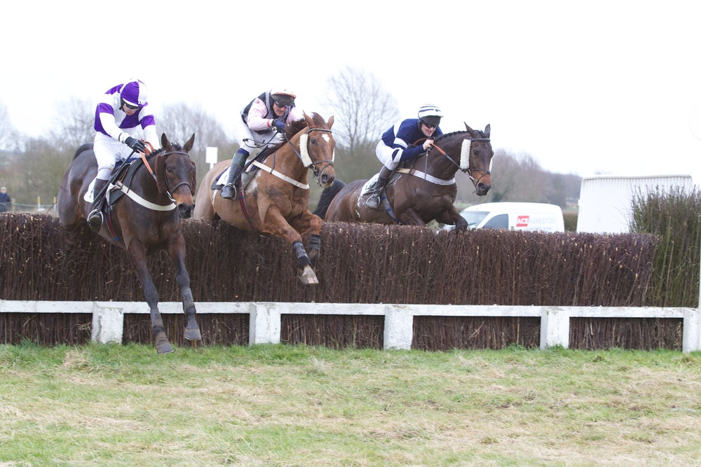 The Essex Grand National comes to the boil - Ide No Idea (left) is challenged by King of Castille (centre) and Owenacurra at the last