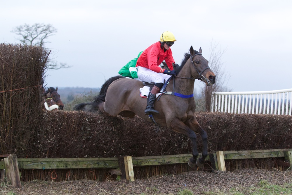 Alpha Native jumps well for Tom Kindleyside during the Novice Riders Race