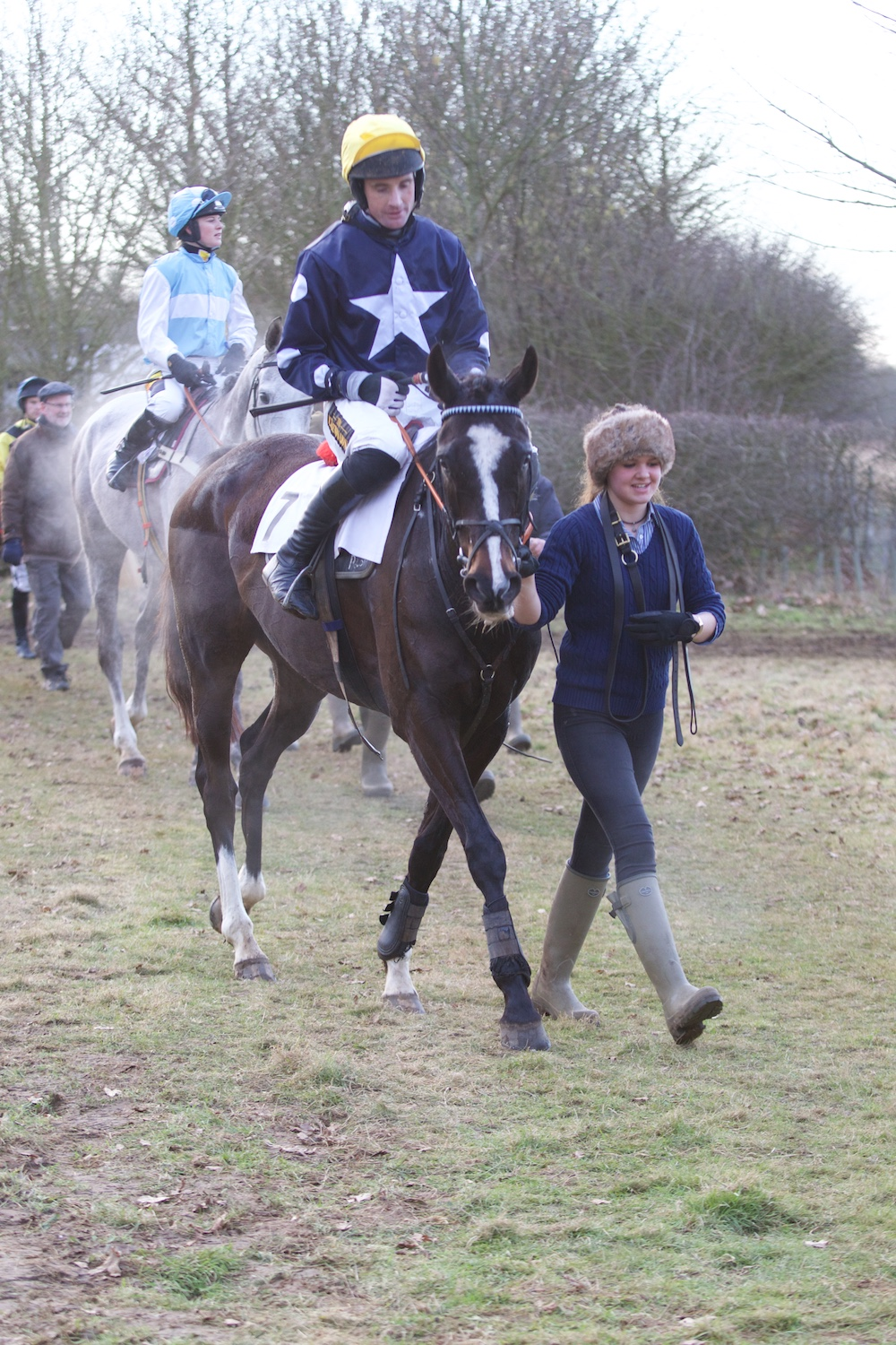 Play The Ace (Dickie Collinson) is led in triumphant following the Restricted
