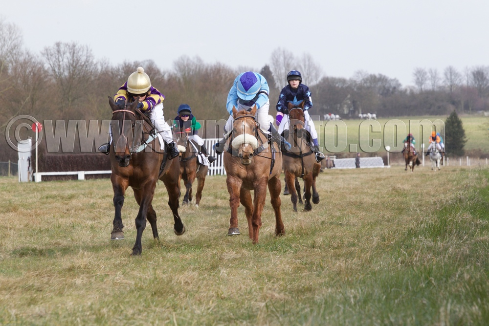 Despite unshipping rider Benoit de la Sayette before the start of the first pony race, Dough Boy has enough energy left to hold off Honky Tonk Girl (Brad Kent, dark blue diamond on cap) with Boolagh Mississippi (Emma Buckle) third and Silaz (Ted Featherstone) fourth