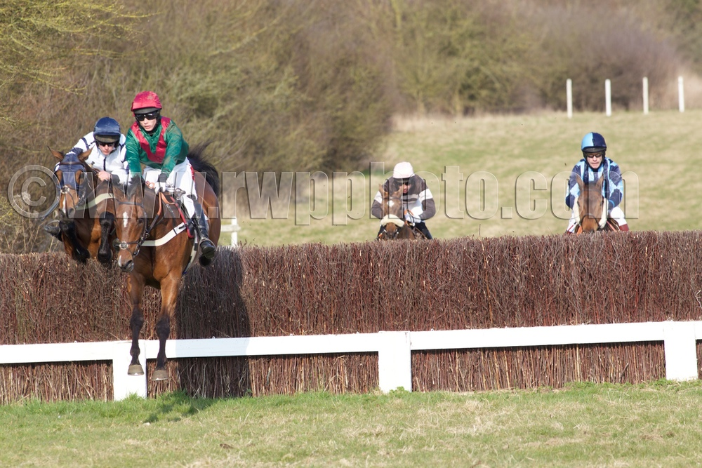 Patsy Finnegan jumpsjockey Archie Wright's bogey fence, the second last, with aplomb in the Mens Open