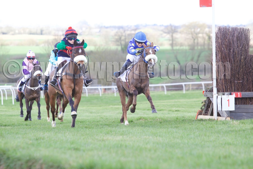 Silaz (Ted Featherstone, left) holds off Glebedale Stopwatch (Brad Kent) to win the first pony race
