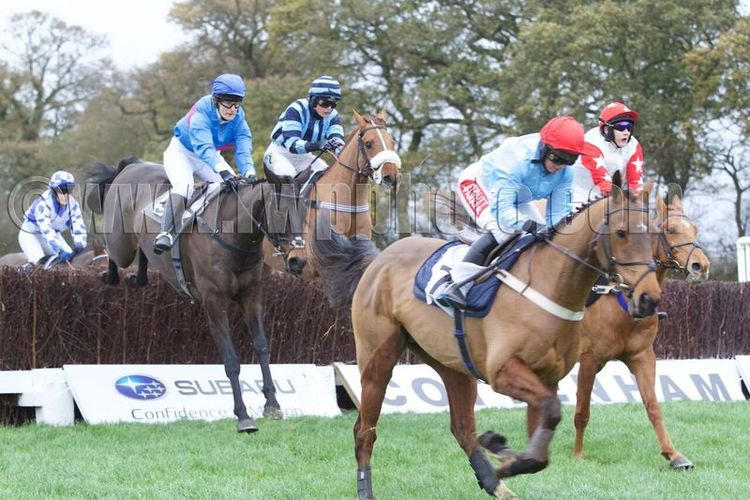 Penmore Mill leads, tracked by Sagalyrique (plain dark blue cap) with a circuit to run