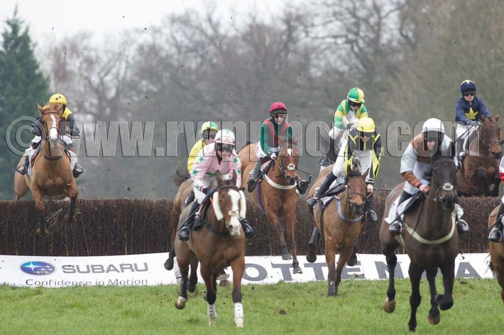 It Was Me (green and red, jumping fence) is some way off the leaders early on