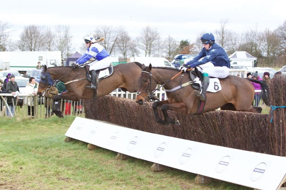 Basic Fact (Rosie Chinery) jumps an early fence just in front of Nightscape (Charlie Buckle)