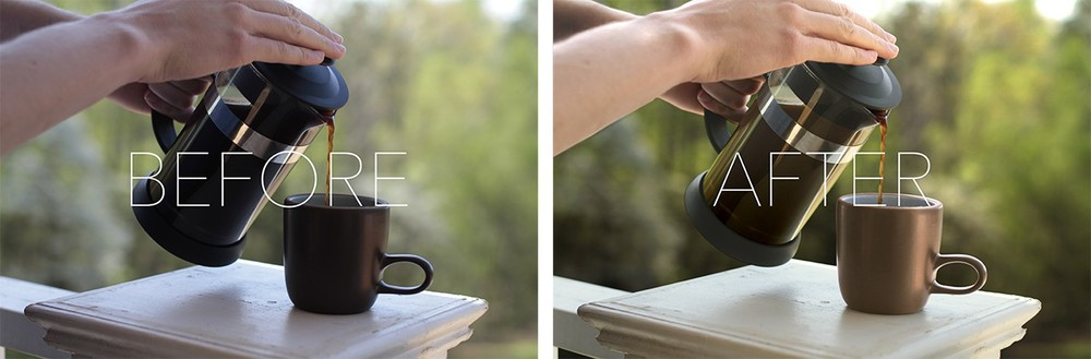 French Press photo before and after Photoshopping