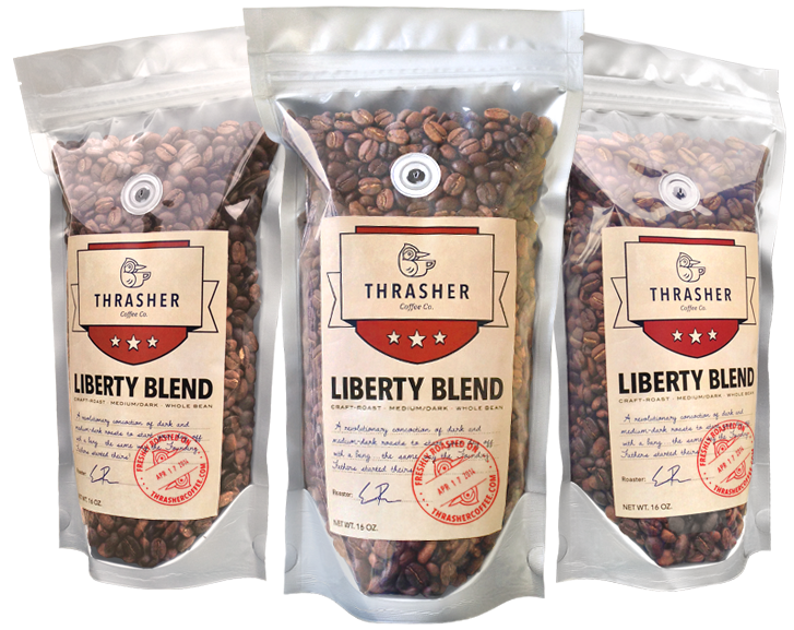 The Liberty Blend coffee bags, by Thrasher Coffee Co.