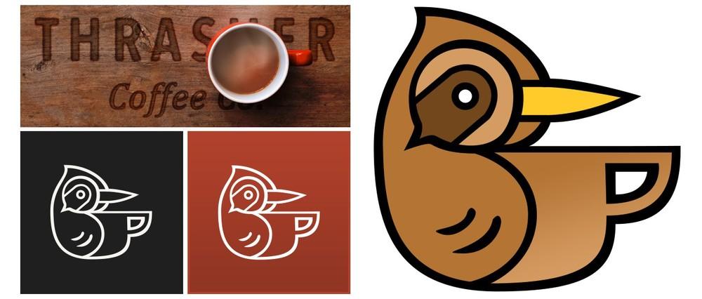 Thrasher Coffee Company's bird logo, and brand identity colors
