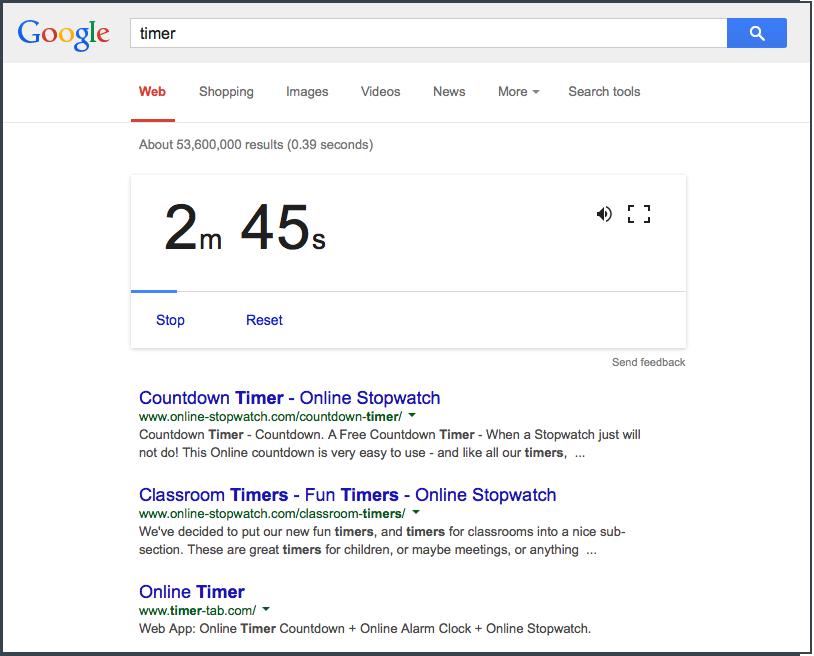 Screen shot of Google's timer web app