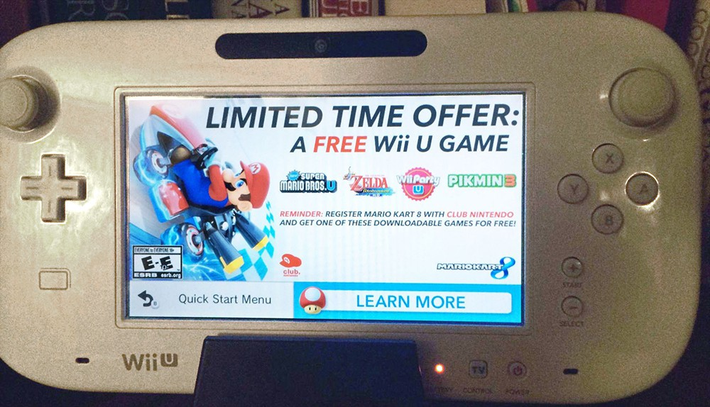 This is the ad you might see when you turn on the Wii U today.