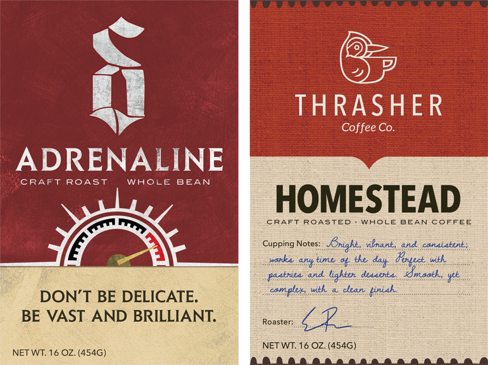 Coffee labels for Thrasher Coffee