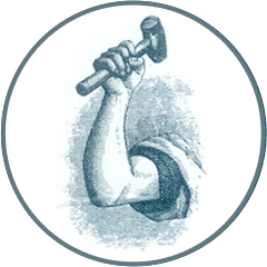 Arm and hammer illustration