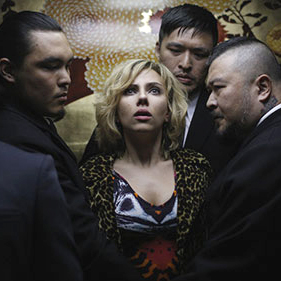 Screen shot of Scarlett as Lucy in the action film, Lucy