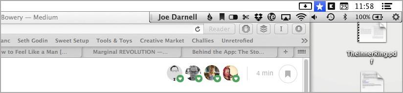 A screen shot of my Mac menu bar apps