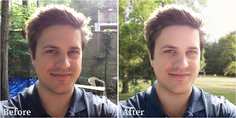 'Before and after' About page picture edited with Photoshop CS6