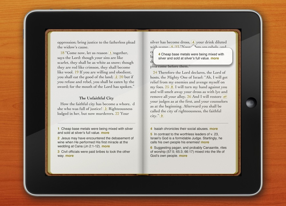Bible app design for the iPad (2012)