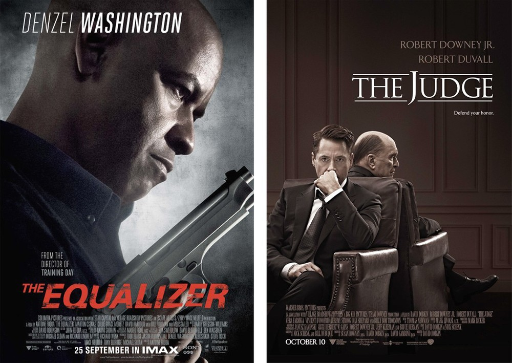 Posters for 'The Equalizer' and 'The Judge' movies in theaters