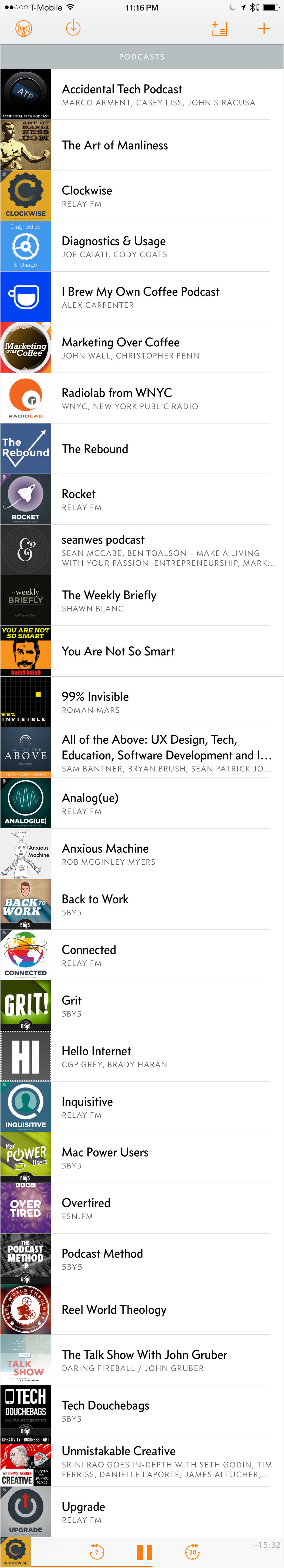 Screenshot of Overcast podcast subscriptions