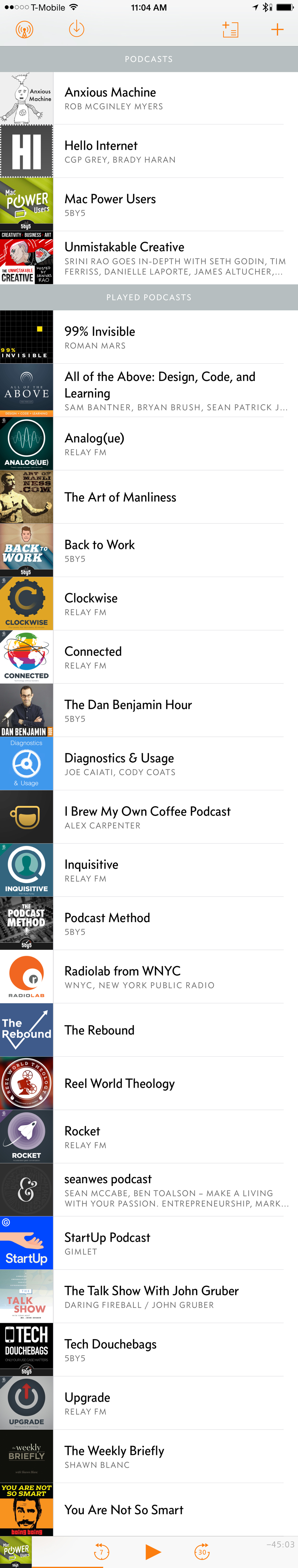 This is a looong screenshot of my subscriptions in the Overcast app.