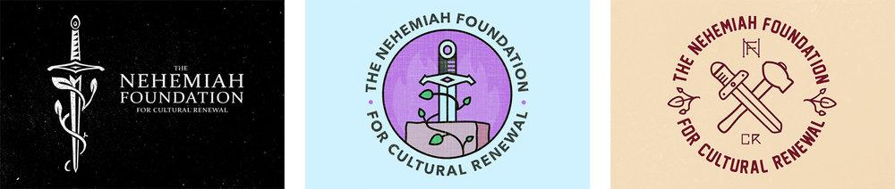Three mockups of Nehemiah Foundation logo