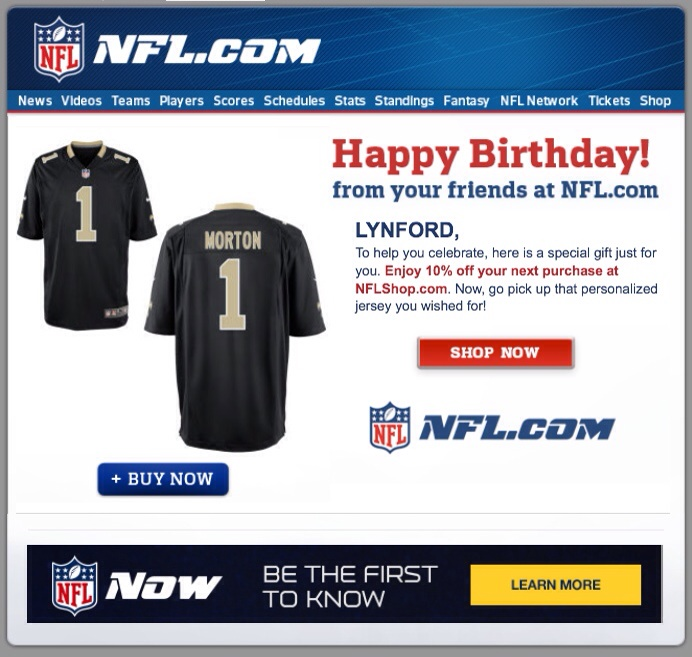 25049d68c78 Happy birthday from the NFL - with a personalized jersey photo — Lynford  Morton