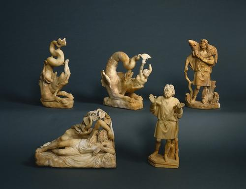 These Jonah sculptures (minus the one in the front right) were found carved in the 3rd century AD depicting the story of Jonah