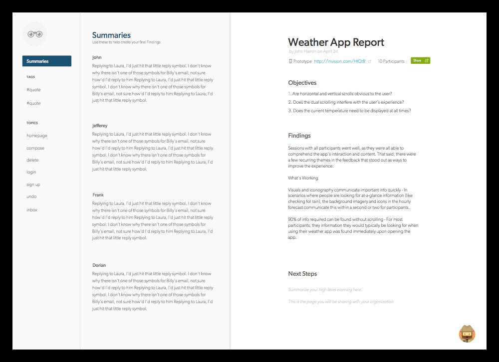 Create a report