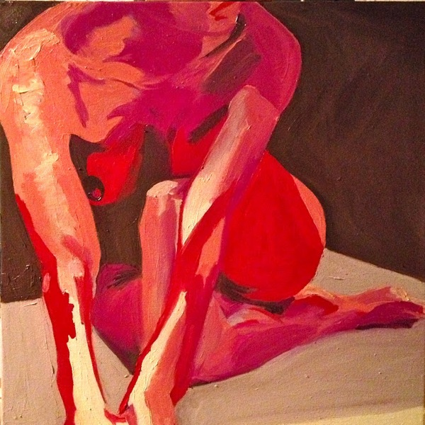 Chocolate and Red Nude, Oil on Canvas, 24 x 20