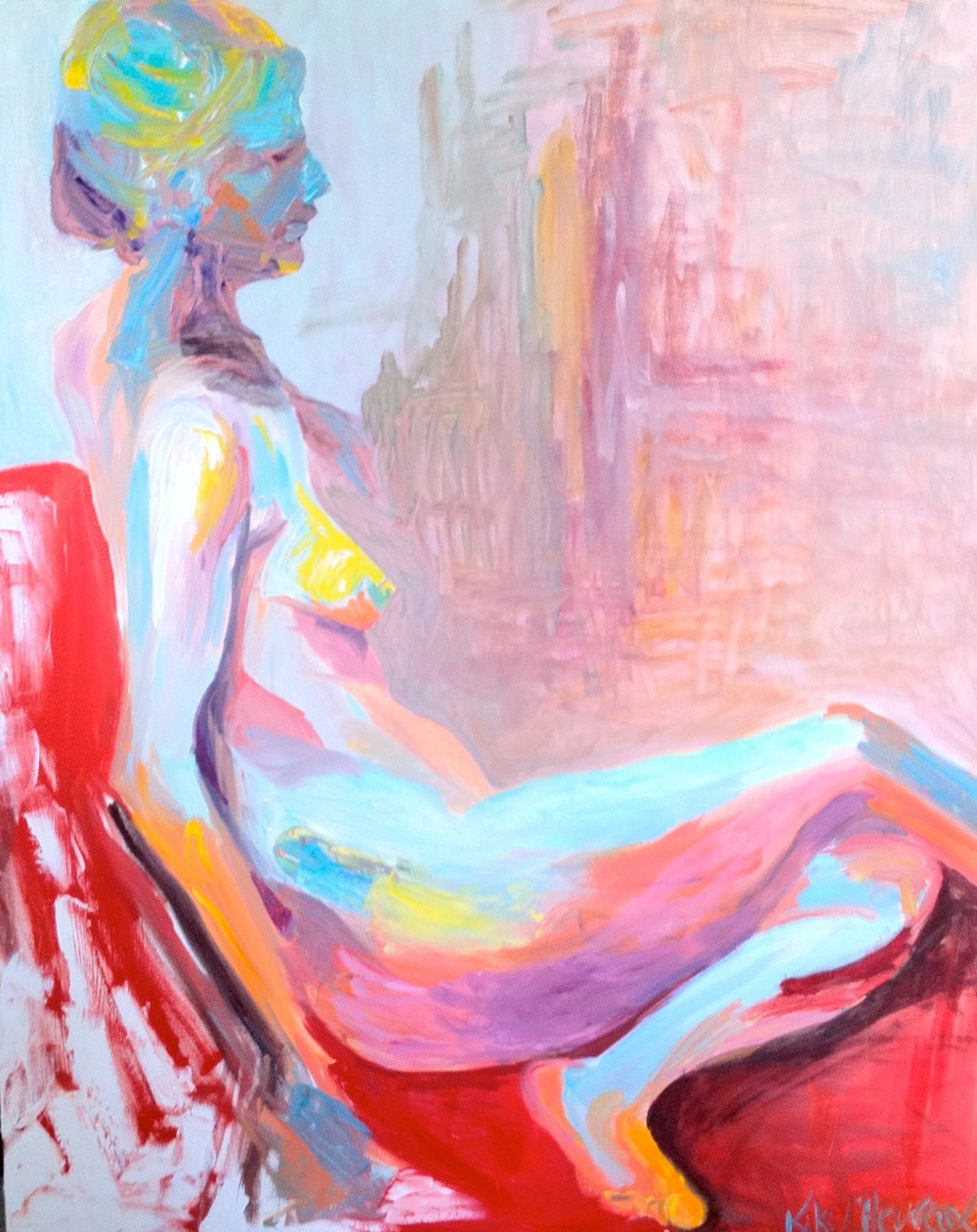 Blue and Red Woman