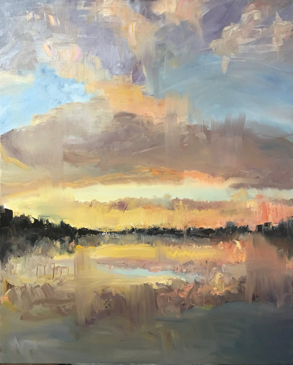"Winter Sunset, Oil on canvas, 52"" x 42"""