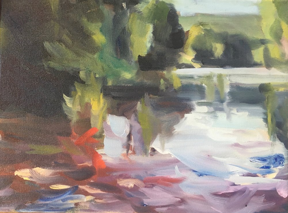 River Light, Oil on canvas, 9 x 12
