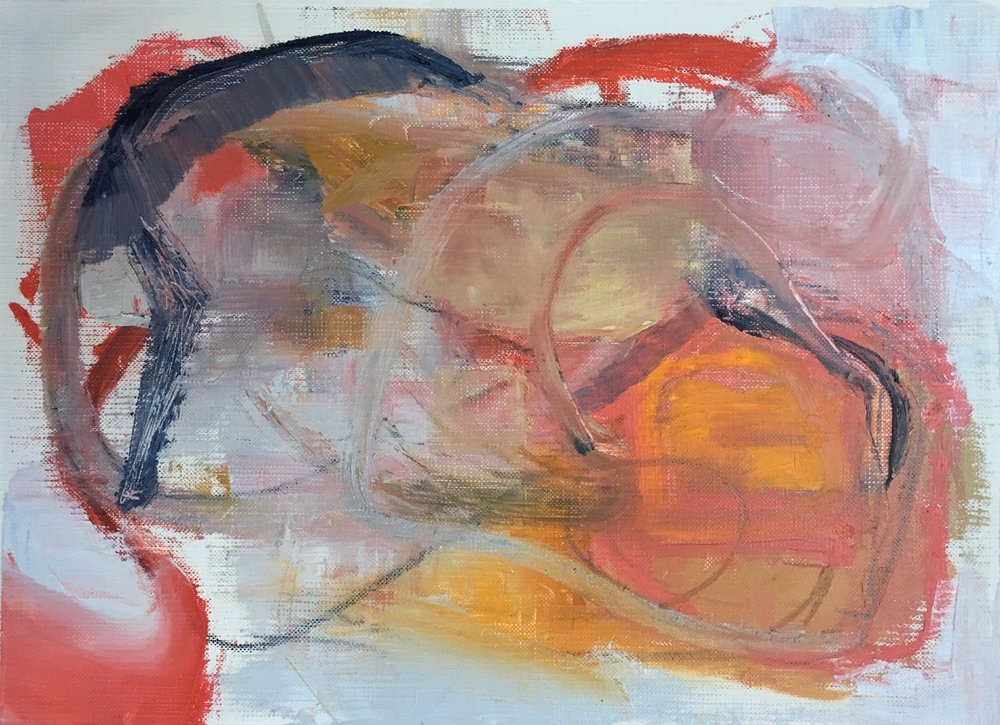 Arancia Rossa, Oil on Paper