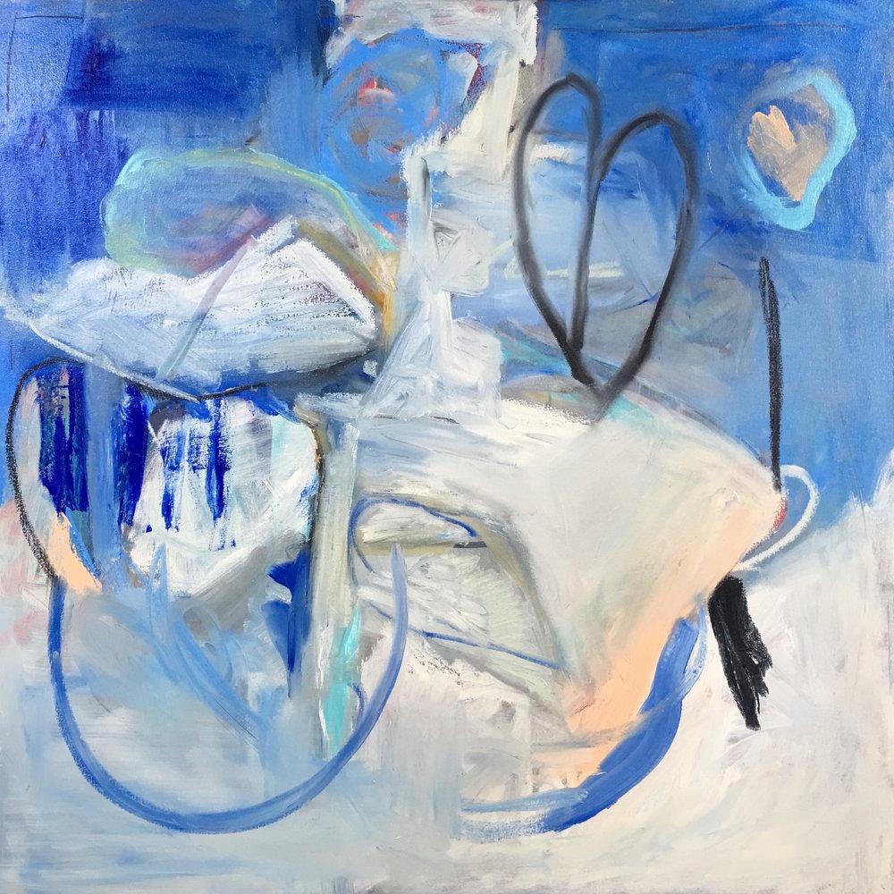 Blue Valentine, Mixed Media on Canvas, 36 x 36