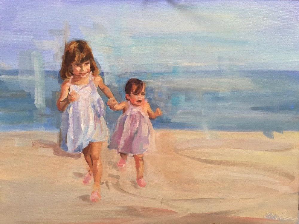Allegra and Emilia, Oil on canvas, 12 x 16