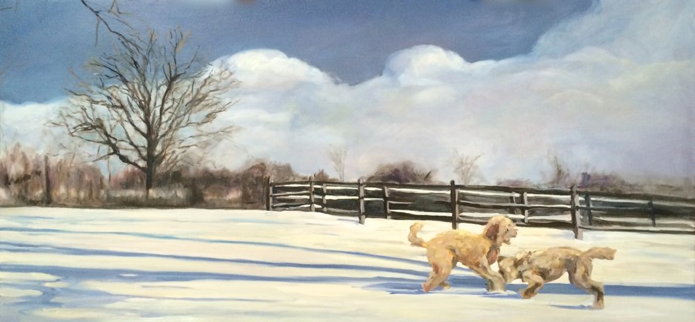 Teddy and Cashew, Oil on panel, 32 x 66