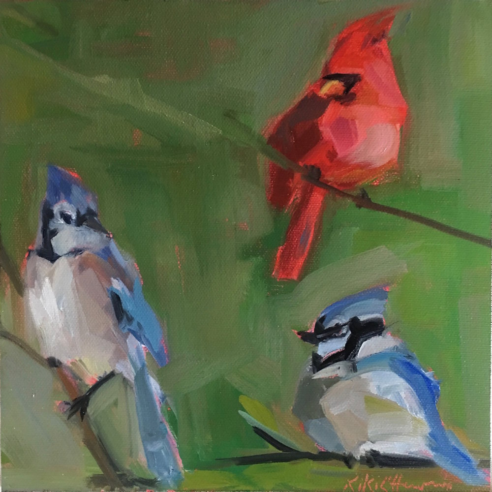 A Cardinal and Her Two Jays, Oil on canvas, 8 x 8