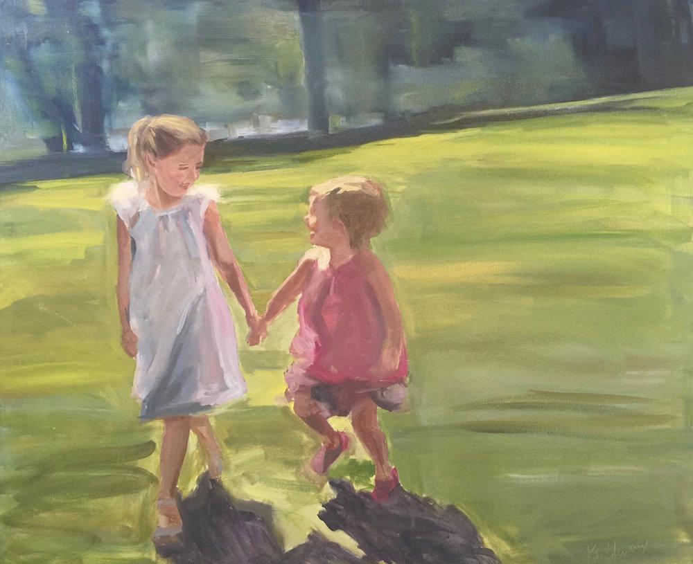 Hailey and Lia, Oil on canvas, 30 x 36
