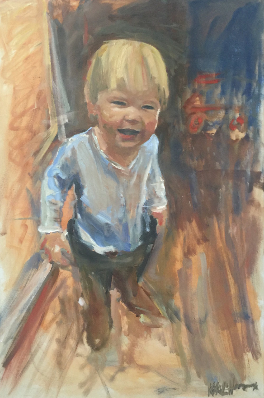 "Charlie in Boots, Oil on Canvas, 36"" x 24"""