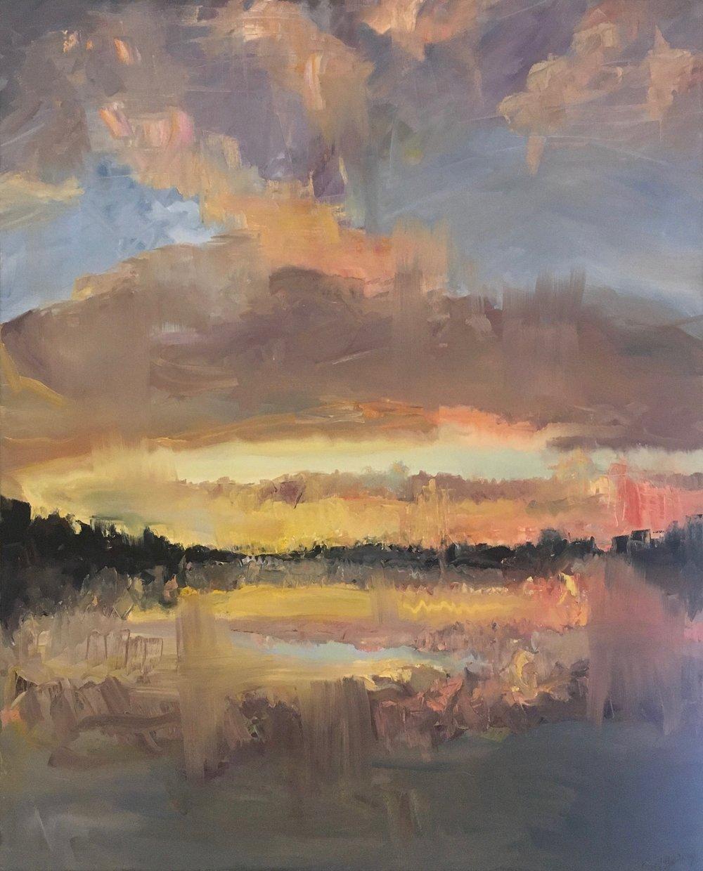 Winter Sunset, Oil on canvas, 52 x 42
