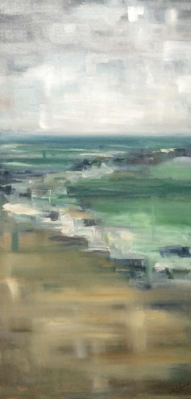 "Ditch Plains, oil on canvas, 48"" x 24"""