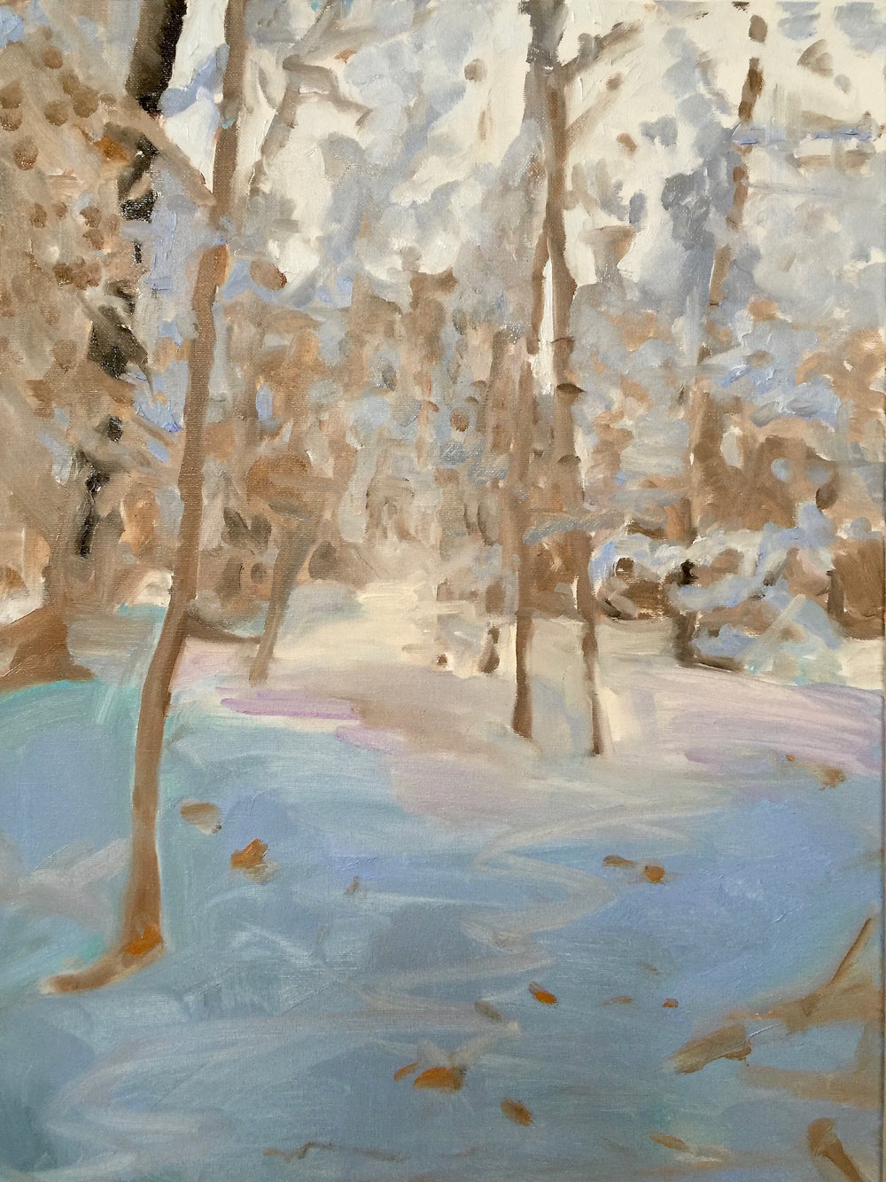 Sunny Woods, Oil on Canvas, 24 x 18