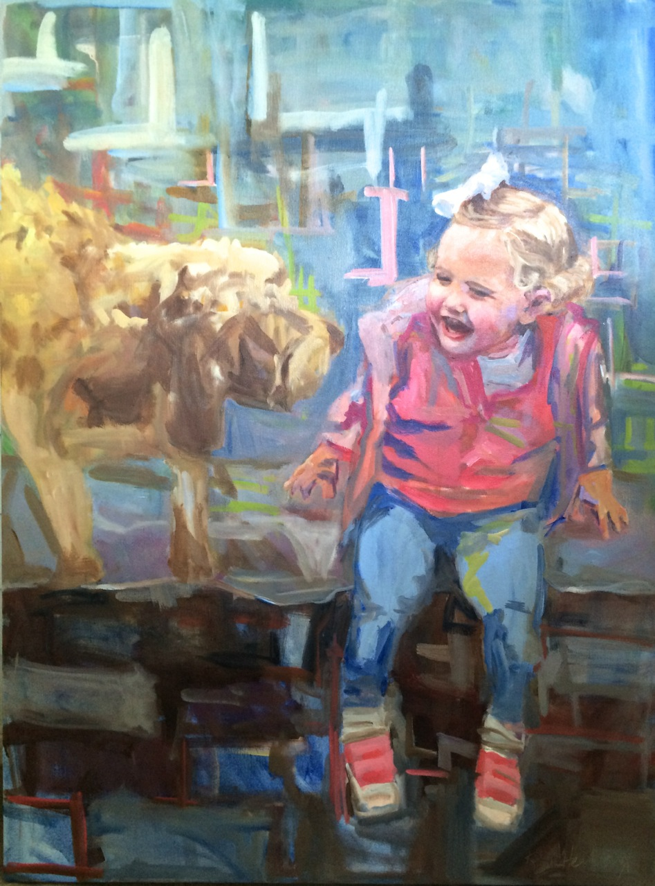Grace with Otis, Oil on Canvas, 40 x 30