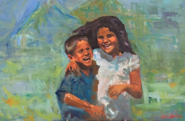 Anna & Lucas, Oil on Canvas, 20 x 30